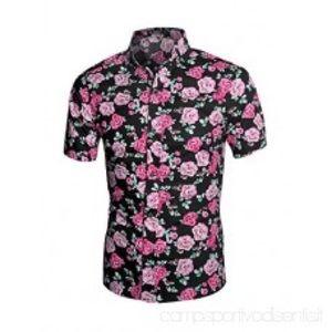 Men's Large Button Down Floral Short Sleeve Shirt
